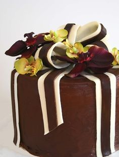Spiced Chocolate Torte Wrapped in Chocolate Ribbons / Bon Appétit