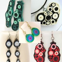 Paper Quilled Jewelry Retro Circles