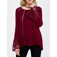 22.28$  Buy here - http://di37b.justgood.pw/go.php?t=205550603 - Flare Sleeve Lace Trim Blouse 22.28$