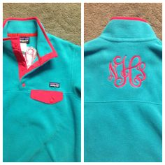Monogrammed Patagonia. Perfect color: tobago blue http://www.patagonia.com/us/product/womens-synchilla-lightweight-fleece-snap-t-pullover?p=25455-0