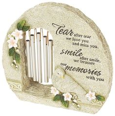 """garden stone wind chime unique sympathy gift idea memorial funeral gift Dedication card included for personalization.    You can send this thoughtful memorial gift - A garden stone and windchime all in one.    Message on garden stone: """"The best things in life are the people we love,  the places we've been and the memories we've made along the way"""""""