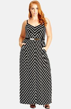 City Chic 'Weekend Stripe' Belted Maxi Dress (Plus Size)