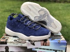 36ebfae67562 2018 Hot Sale Air Jordan 11 Low Derek Jeter RE2PECT Navy Blue Suede