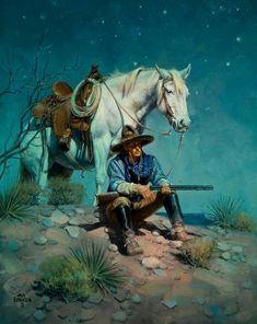 Jack Sorenson, artist for Cowboy Night Watch Cowboy Art, Cowboy And Cowgirl, Cowboy Horse, Westerns, Cowboy Pictures, Cowboys And Indians, Southwest Art, Le Far West, Mountain Man