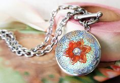 Summer Beach Jewelry Colorful Art Glass Pendant by veryDonna