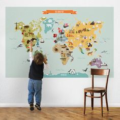The World Map - Peel and Stick Repositionable Fabric Stickers - Simple Shapes Wall Decals, Furniture, and Accessories