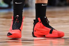 Nike Gives the Air Jordan 34 an Infrared Makeover — Highsnobiety Nike Air Max Jordan, Jordan Logo, Air Jordan Shoes, Jordan 11, Jordan Retro, Girls Wearing Jordans, Jordans Girls, Air Jordans, Jordan 1 Orange