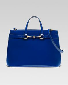 Gucci Bright Bit Large Leather Tote, Sapphire, Neiman Marcus