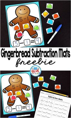 Gingerbread Subtraction Mats are the perfect addition to your math centers this Christmas holiday season. This free printable is perfect for kindergarten, first grade, and second grade students. #freeprintable #gingerbread #preschool #kindergarten