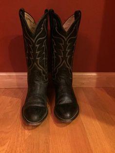 Tony-Lama-Cowboy-Western-Boots-Size-9-D-Black-Aztec-Traditional-Vintage-Handmade