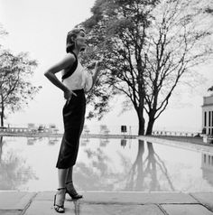 Evelyn Tripp wearing a halter top dress by Katja of Sweden, Bermuda, 1951. Photo by Genevieve Naylor.