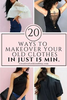 20 Ways To Recycle Old Clothes in 15 Minutes Or Less Wanna makeover your dresses, tops, pants, and accessories? This ultimate resource will walk you through 20 ways to recycle old clothes you already have. Trash To Couture, Thrift Store Outfits, Thrift Stores, Diy Kleidung Upcycling, Recycle Old Clothes, Making Clothes From Old Clothes, Diy Your Clothes, Diy Clothes Hacks, Diy Clothes Accessories