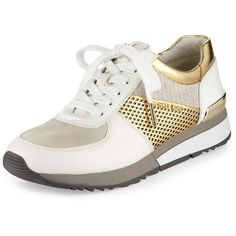 MICHAEL Michael Kors Allie Mixed-Media Trainer Sneaker ($145) ❤ liked on Polyvore featuring shoes, sneakers, laced sneakers, lace up shoes, metallic shoes, white lace up shoes and small heel shoes