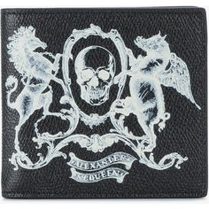 Alexander McQueen skull coat of arms wallet ($275) ❤ liked on Polyvore featuring men's fashion, men's bags, men's wallets, mens leather wallets, mens skull wallet, mens leather skull wallet and alexander mcqueen mens wallet