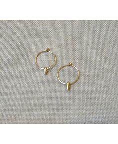 Mini créoles BARBARELLA, anneau et pic plaqué or : Boucles d'oreille par mypauletteisrich