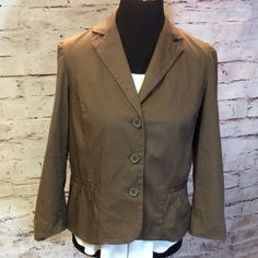 LIZ CLAIBORNE BROWN JACKET Adorable little jacket that's great for career or casual. Unless you're petite the sleeves might be more cropped than full length.  Gently loved Liz Claiborne Jackets & Coats Blazers
