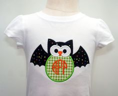 Girls Halloween Applique Shirt w/ Monogram Owl by PalmValleyKids