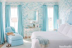 It dissolves tension and promotes tranquillity. Light blue especially brings ease into the home and harmony into relationships. Wearing or surrounding yourself with it helps calm aggressive tendencies and eliminates discord. Try a light blue headboard, flowy drapes or painted ceiling. Interior design by Meg Braff   - HouseBeautiful.com