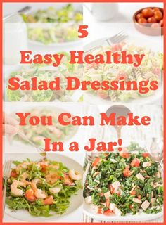 How to make your own salad dressings in a jar. Easy to make salad dressings. Here I share my favourite 5 easy healthy salad dressings you can make in a jar. Salad Recipes Healthy Lunch, Quick Healthy Lunch, Easy Salads, Easy Healthy Recipes, Vegetarian Salad, Healthy Lunches, Healthy Eating, Low Calorie Salad, Salad Dressings
