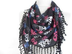 Christmas gift Black scarves  skull scarves ..100 Cotton by asuhan, $13.50