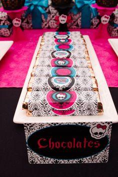 chocolates personalizados, fiesta monster high
