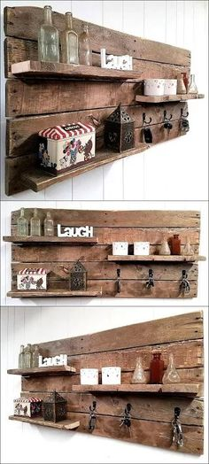 Beautiful Rustic Pallet Shelf Key Rack Combo