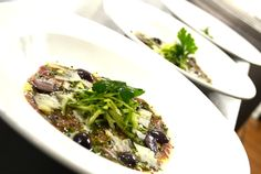 Venison carpaccio topped with cucumber black olive and Parmesan Venison, Starters, Parmesan, Risotto, Cucumber, Restaurant, Dinner, Ethnic Recipes, Black