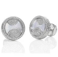 Guggenheim by Harry Winston, Diamond and Mother of Pearl Cufflinks...Perfect Gift For The Groom!