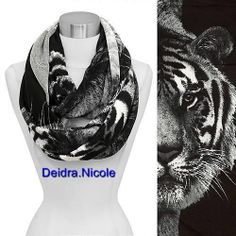 Eyes of Tiger Print Loop/Infinity Scarf, Black Animal Print 2013 Fall Trend on ebay!