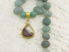 Avanturine & Rutile Necklace , 24k Pure Gold Necklace, Statement Necklace. $385.00, via Etsy.