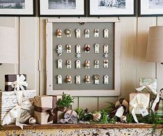 Modern Advent Calendar. Elegant, yet rustic, this advent calendar is a fun way to decorate and get your family excited for the holidays. Paint a board and attach it to a vintage window or picture frame. Hang manila shipping tags from cup hooks on the board. You can use a ruler to space the hooks evenly, or trust your eye. Adhere number stickers to the envelopes to help kids count down the days. Each morning, they can hang an ornament from that day's hook.
