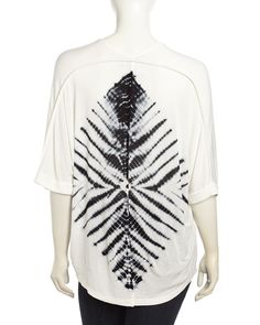 Young Fabulous and Broke Aleen Dolman-Sleeve Tie Dye Top, Black Marquise