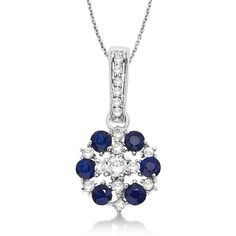 Allurez Blue Sapphire & Diamond Flower Cluster Pendant 14k White Gold... ($795) ❤ liked on Polyvore featuring jewelry, diamond pendant necklace, flower jewellery, diamond necklace pendant, diamond pendant and white gold jewellery