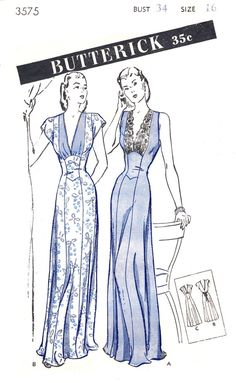A glamorous gown or negligee with fitted princess seam effect. View A – sleeveless version; glamorous bodice accent of lace; tie sash across back Lingerie Patterns, Vintage Dress Patterns, Clothing Patterns, Vintage Dresses, Vintage Outfits, Vintage Fashion, Lingerie Vintage, Sewing Lingerie, Moda Vintage