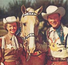 """Dale Evans & Roy Rogers w Trigger / Roy  (11/5/1911-7/6/1998) was a popular American singer & cowboy actor in his era. Known as """"King of the Cowboys,"""" he appeared in 100+ films & TV episodes of The Roy Rogers Show - often w his wife, Dale Evans, his golden palomino, Trigger and his dog, Bullet. His TV show ran from 1951-1957. His shows usually featured a sidekick  (Pat Brady, Andy Devine, or George """"Gabby"""" Hayes)."""