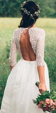 36 Boho Wedding Dresses Of Your Dream ❤ boho wedding dresses straight lace open back with sleeves eleonore pauc ❤ See more: http://www.weddingforward.com/boho-wedding-dresses/ #weddingforward #wedding #bride