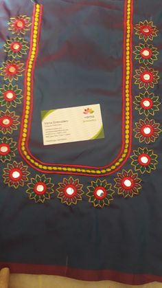 Embroidery Fabric, Modern Embroidery, Machine Embroidery Designs, Embroidery Patterns, Zardosi Work Design, Kutch Work Designs, Lace Beadwork, Mirror Work Blouse Design, Churidar Designs