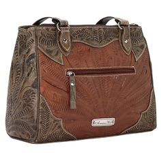 American West Fall 2016 Desert Flower Multi-Compartment Organizer Tote (14.045 RUB) ❤ liked on Polyvore featuring bags, handbags, tote bags, tote handbags, western purses, brown handbags, cowgirl handbags and western handbags