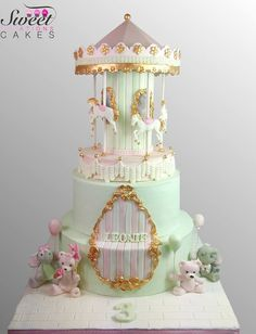 Carousel Cake by Sweet Creations cakes Carousel Cake, Carousel Birthday, Birthday Cake, Carousel Party, Fancy Cakes, Cute Cakes, Yummy Cakes, Carnival Cakes, Festa Party