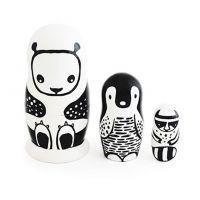 Wee Gallery babushka-sæt, sort/hvide dyr