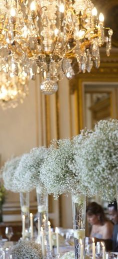 Chandeliers, Tall Vases Cascading With Baby's-Breath, Candles...The ambience of a Gala Affair.
