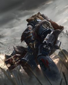 The coming two weeks you'll be seeing the art of both codex: Space Wolves and the supplement Champions of Fenris. Kicking things off is the Great Wolf himself, from codex: Champions of Fenris by ukitakumuki Warhammer 40k Space Wolves, Warhammer 40k Art, Warhammer Fantasy, Space Wolf, Wolf Time, Eternal Crusade, Dc Comics, Great Warriors, Game Workshop