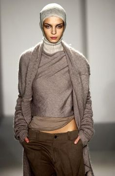 | RICK OWENS | brown | layers | headscarf | neutrals |