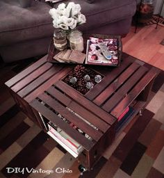 Wood crate coffee table!  I love this and it would go great with the wood crate end table, tv stand, and book case we are going to make. As soon as my crates get here!!!!