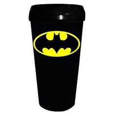 Batman Logo Black Travel Mug by Silver Buffalo. $10.02. The Caped Crusader on a travel mug! Plastic black travel mug with lid.. 16-ounce mug features the Batman logo.. A 16-ounce travel mug, the Batman Logo Black Travel Mug makes the perfect gift for fans of the Caped Crusader!. If you've got a friend or family member who loves DC Comics, then make the Batman logo black plastic travel mug a gift!. Let Gotham's superhero keep your beverage of choice from spilling at ...