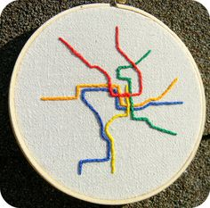 Washington DC Metro Map Embroidery Hoop Art Hand by HeyPaulStudios, $46.00