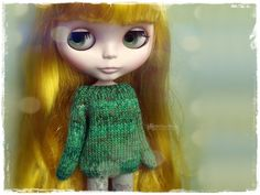 BLYTHE Sweater, Jumper, Pure Neemo, Licca, Takara, Pullip, Dal - Knitted Multicolor Green Sweater #10 by MPdollWorld on Etsy