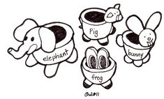 Drawing of simple pinch pot ideas . Title: Ceramic Pinch Pots With Animal Features Topic: learning to work with clay, sculptu...