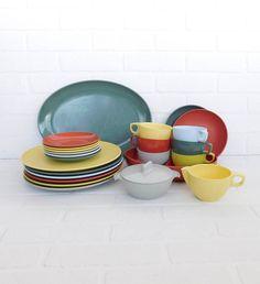 Vintage Watertown Lifetime Ware Melmac Dinnerware Set, Melamine Dishes, Melmac Plates, Melmac Dishes