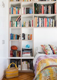 ... Amazing shelving in the guest bedroom in Melbourne home of Katie Graham and family, via thedesignfiles.net. Photos - Sean Fennessy, Styling / Production – Lucy Feagins...